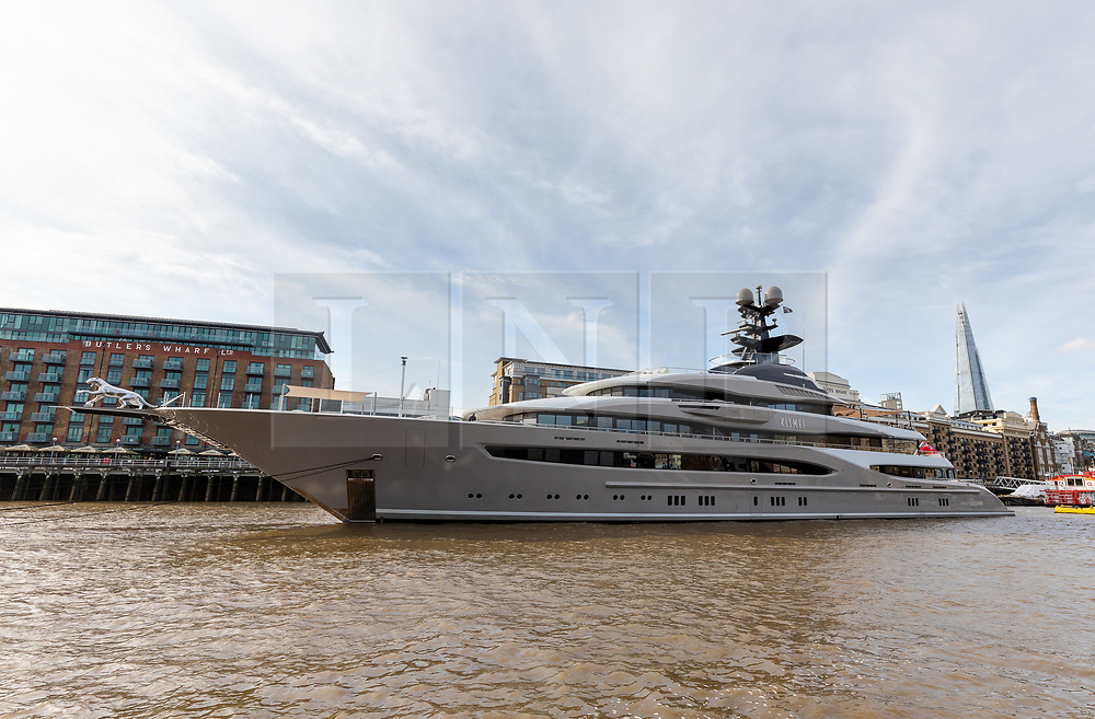 © Licensed to London News Pictures. 30/10/2019. London, UK.  308 feet long luxury superyacht, Kismet owned by Pakistani American billionaire businessman, Shahid Khan is seen moored at Butlers Wharf near Tower Bridge on the River Thames. Shahid Khan owns the National Football League (NFL) team, the Jacksonville Jaguars, who are due to play the Houston Texans in an International Series game at Wembley this Sunday. Kismet has 6 staterooms, with the master bedroom having its own private deck with jacuzzi and helipad and can be chartered for an estimated £1m per week.Photo credit: Vickie Flores/LNP