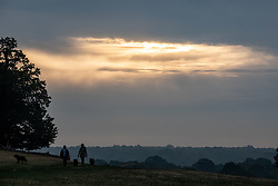 © Licensed to London News Pictures. 23/10/2019. London, UK. Walkers in South West London enjoy the autumnal feel of Richmond Park. Richmond Park looking autumnal in the hazy sun as weather experts predict a wet weekend before the clocks go back on Sunday. Photo credit: Alex Lentati/LNP