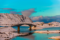 The Fredvang bridges linking the fishing village of Fredvang on Moskenesoya Island with the neighboring island of Flakstadoya, Nordland County, Lofoten Islands, Northern Norway. They are cantilever bridges. Before these many bridges were built it was necessary to use a ferry to travel between islands.