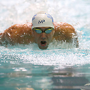 ORLANDO, FL - MARCH 03:  Michael Phelps competes in the mens 100 LC meter butterfly prelims during day one of the Arena Pro Swim Series at the YMCA of Central Florida Aquatic Center on March 3, 2016 in Orlando, Florida. (Photo by Alex Menendez/Getty Images) *** Local Caption *** Michael Phelps