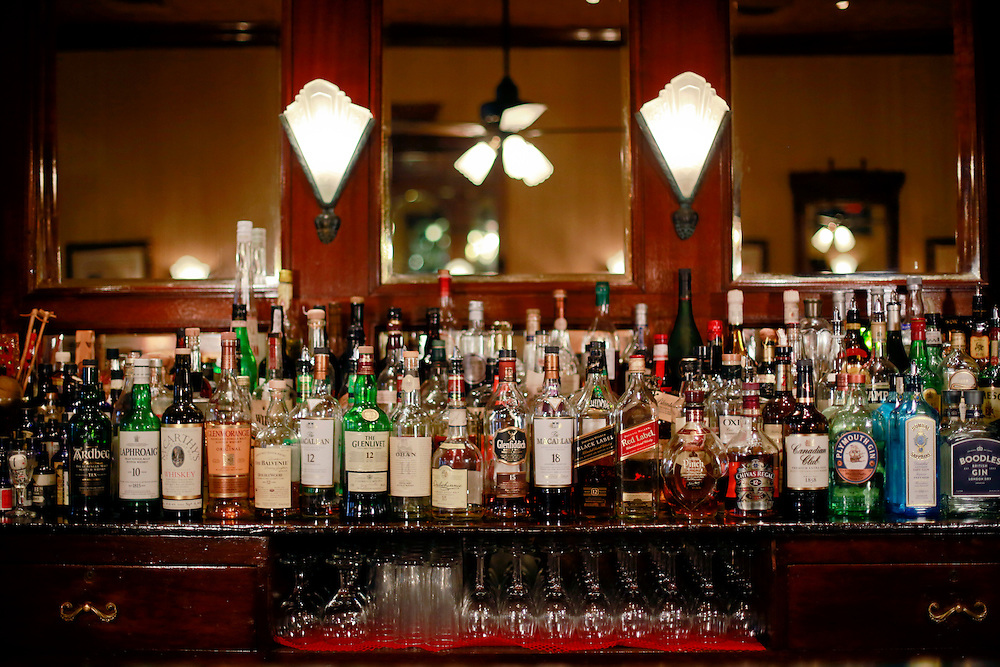 03 Sept 2014. New Orleans, Louisiana. <br /> Back of the bar at Arnaud's French 75 Bar in the French Quarter.<br /> Photo; Charlie Varley/varleypix.com