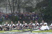Putney, London   <br /> 2002 Varsity Boat Race. <br /> Photo Peter Spurrier<br /> 2002 Boat Race<br /> 30/03/02<br /> Oxford start to row through Cambridge, in the closing stages of the race.<br /> Left to right: Robin Bourne-Taylor, Ben Burch, Lucas McGee, Dan Perkins, Gerritjan Eggenkamp, Basil Dixon and Andrew Dunn[Mandatory Credit:Peter SPURRIER/Intersport Images]