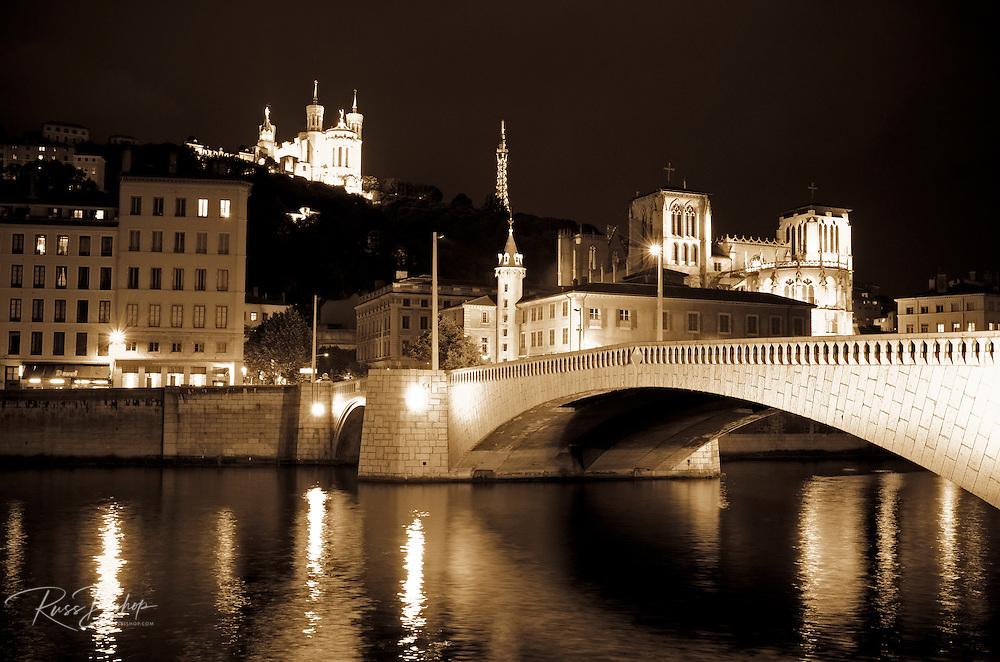 The Fourvière Basilica at night from Pont Bonaparte, Lyon, France (UNESCO World Heritage Site)