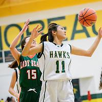 020215  Adron Gardner/Independent<br /> <br /> Thoreau Hawk Taira Whitman (11), right, follows a bounce ahead of Wingate Bear Ariel Salcido (15) at Thoreau High School Monday.