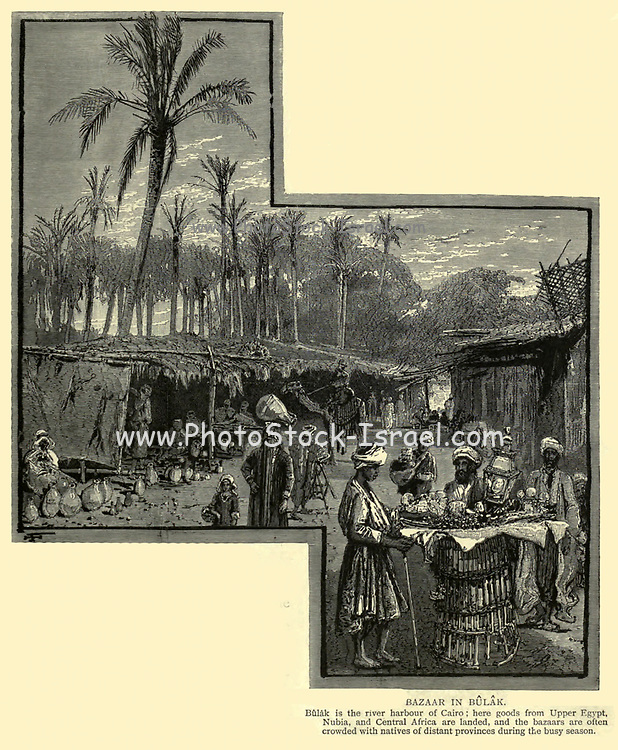 BAZAAR IN BULAK. Bulak is the river harbour of Cairo ; here goods from Upper Egypt, Nubia, and Central Africa are landed, and the bazaars are often crowded with natives of distant provinces during the busy season Wood engraving from 'Picturesque Palestine, Sinai and Egypt' by Wilson, Charles William, Sir, 1836-1905; Lane-Poole, Stanley, 1854-1931 Volume 4. Published in 1884 by J. S. Virtue and Co, London