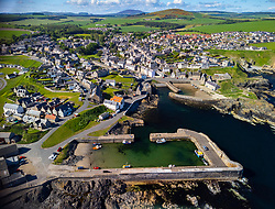 Aerial view from drone of historic harbour at Portsoy in Aberdeenshire on the moray firth, Scotland, UK
