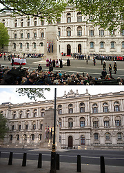 File photo dated 08/05/15 showing a Service of Remembrance to mark the 70th anniversary of VE Day, at the Cenotaph, in Whitehall, London marking the end of the Second World War in Europe now 75 years ago, and how it looked 2/5/2020.
