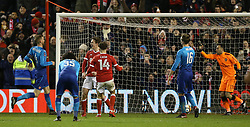 Nottingham Forest's Kieran Dowell (third left) celebrates scoring his side's fourth goal of the game from the penalty spot