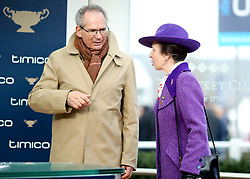 The Princess Royal and Robert Waley-Cohen on stage ready to present the Timico Cheltenham Gold Cup to winning owners Anne and Garth Broom during Gold Cup Day of the 2018 Cheltenham Festival at Cheltenham Racecourse.