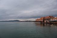 Clouds darken the sky in Ayvalik, Turkey, a town on the Aegean Sea.
