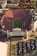 9/26/09 Lincoln, NE.Aerial photo of Memorial Stadium during the 300th consecutive sell-out game..Red balloons released after first Husker touchdown..(Chris Machian/Omaha World-Herald)