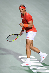 August 10, 2018 - Toronto, ON, U.S. - TORONTO, ON - AUGUST 10: Rafael Nadal (ESP) celebrates after winning the second set during his Quarter-Finals match of the Rogers Cup tennis tournament on August 10, 2018, at Aviva Centre in Toronto, ON, Canada. (Photograph by Julian Avram/Icon Sportswire) (Credit Image: © Julian Avram/Icon SMI via ZUMA Press)