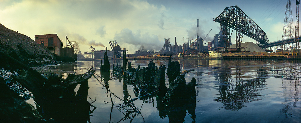The Cuyahoga River is highly polluted from industrial development.
