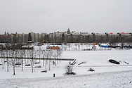 A snow-covered section of the Mauerpark, a space dedicated to recreation along the route of the former Berlin Wall north of the city centre. The route of the Wall, which stood from 1962-1989, has been developed into the 'Mauerweg,' a thoroughfare which traces most of the route of the Wall which encircled the city and divided it into East and West Berlin during the Cold War. In the years following the 1989 civil uprising in the German Democratic.Republic, most of the Wall was removed as part of the reunification strategy which united the pro-Soviet DDR and the Federal Republic of (West) Germany.