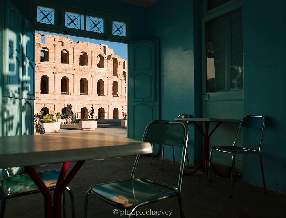 View of Roman amphitheatre from cafe bar interior, El Djem, Tunisia