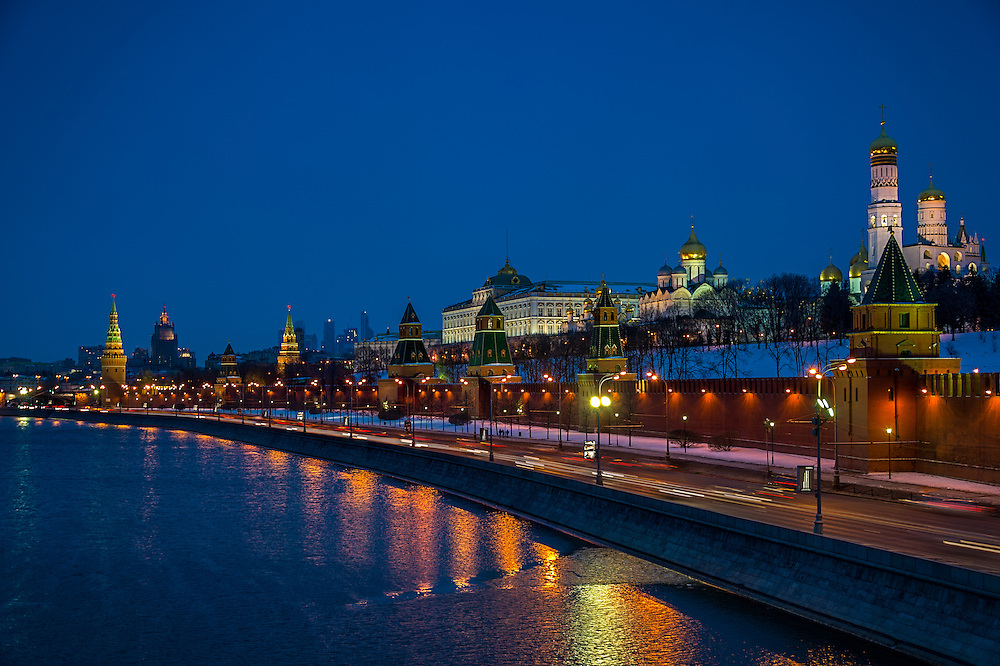 The Kremlin from the banks of the Moskva River in Moscow at night in Russian Federation