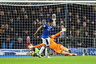 Theo Walcott of Everton shoots past Leicester goalkeeper Kasper Schmeichel and scores his teams 1st goal.  Premier league match, Everton v Leicester City at Goodison Park in Liverpool, Merseyside on Wednesday 31st January 2018.<br /> pic by Chris Stading, Andrew Orchard sports photography.