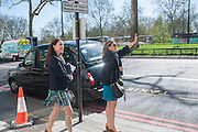 APRIL YANACELLI; MIMI HILLS, Leaving The Seventh Annual Foreign Sisters Lunch in aid of Cancer Research UK. . The Dorchester 53 Park Lane. London. 1 May 2013.