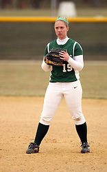 30 March 2013:  Chloe Montgomery during an NCAA Division III women's softball game between the DePauw Tigers and the Illinois Wesleyan Titans in Bloomington IL