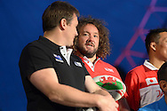 Adam Jones of Wales talks to Andrew Mehrtens of New Zealand during the media event. RWC 2015, Coca Cola London Eye launch for the Rugby World cup event  in London on Tuesday 15th Sept  2015.<br /> pic by John Patrick Fletcher, Andrew Orchard sports photography.
