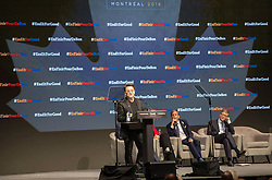 Bono addresses a session in front Mark Dybul, executive director of the Global Fund and billionaire philanthropist Bill Gates, right, at the Global Fund conference Saturday, on September 17, 2016 in Montreal, QC, Canada. Photo by Paul Chiasson/The Canadian Press/ABACAPRESS.COM