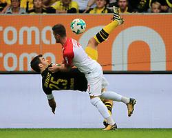20170930, 1.BL, Bundesliga, FC Augsburg vs BVB Dortmund, WWK Arena Augsburg, Fussball, Sport im Bild:..Sokratis Papastathopoulos(BVB) vs Marcel Heller (FC Augsburg)...*Copyright by:  Philippe Ruiz..Postbank Muenchen.IBAN: DE91 7001 0080 0622 5428 08..Oberbrunner Strasse 2.81475 MŸnchen, .Tel: 089 745 82 22, .Mobil: 0177 29 39 408..( MAIL:  philippe_ruiz@gmx.de ) ..Homepage: www.sportpressefoto-ruiz.de. (Credit Image: © Philippe Ruiz/Xinhua via ZUMA Wire)