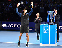 Tennis - 2018 Nitto ATP Finals at The O2 - Day Eight<br /> <br /> Final Singles: Novak Djokovic (SRB) vs. Alexander Zverev (GER)<br /> <br /> Djokovic with the runners up trophy after his 6-4, 6-3 defeat.<br /> <br /> COLORSPORT/ASHLEY WESTERN