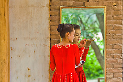 An Uyghur woman in Kashgar, Xinjiang province in China.
