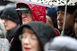 © Licensed to London News Pictures . 22/02/2015 .  Manchester , UK . Crowds stand out in the snow to watch Chinese New Year celebrations in Manchester today ( Sunday 22nd February 2015) . Photo credit : Joel Goodman/LNP
