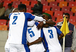 Teammates congratulate Thembinkosi Lorch of Chippa United on his opening goal during the 2016 Premier Soccer League match between Chippa United and Free State Stars held at the Nelson Mandela Bay Stadium in Port Elizabeth, South Africa on the 23rd August 2016<br />