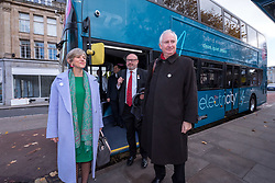 © Licensed to London News Pictures. 12/11/2018. Bristol, UK. Left-right, getting off a hybrid electric bus laid on specially to take them from Bristol Temple Meads train station to Bristol City Hall: LILIAN GREENWOOD MP chair of the House of Commons Transport Committee, GRAHAME MORRIS MP House of Commons Transport Committee, DANIEL ZEICHNER MP House of Commons Transport Committee. Members of the House of Commons' Transport Committee visit Bristol to hear about bus services in the area. The Chair of the Transport Committee, Lilian Greenwood, is joined by committee members Grahame Morris and Daniel Zeichner, and will meet with Bristol City Council and First Group who run the large majority of Bristol buses, followed by Mayor of Bristol, Marvin Rees. In the first public evidence session the Committee has held outside Westminster, the Committee will then take evidence from the West of England Metro Mayor and representatives from Plymouth City Council and Devon County Council. MPs want to hear the views of local authorities about how the market works, what can be done to improve bus services and how they would like to see the future of bus services developing. The main issues surrounding the use of new powers given to local authorities by the Bus Services Act 2017 will also be under consideration. Buses account for five percent of all journeys in the UK. In Bristol buses are the most popular form of public transport, and the number of passenger journeys in Bristol has risen by more than 40% since 2009/10 compared to bus travel in English metropolitan areas outside London, which has declined by 40% over the last 25 years. Bristol City Council has recently concluded a consultation into their Transport Strategy up to 2036. Photo credit: Simon Chapman/LNP