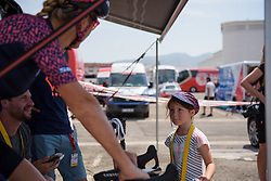 Pauline Ferrand Prevot talks chats to the next generation at La Course High Speed Pursuit 2017 - a 22.5 km pursuit road race on July 22, 2017, in Marseille, France. (Photo by Sean Robinson/Velofocus.com)