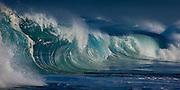 Powerful waves break on the North shore of Oahu, Hawaii