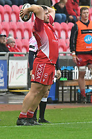 Rugby Union - 2019 / 2020 Guinness Pro14 - Scarlets vs. Cheetahs<br /> <br /> Marc Jones of Llanelli Scarlets throws the ball in at the line, at Parc y Scarlets.<br /> <br /> COLORSPORT/WINSTON BYNORTH