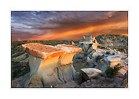 Clearing storm at sunrise over badlands sandstone formations, Theodore Roosevelt National Park, North Dakota