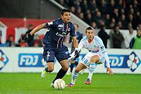 FOOTBALL - FRENCH LEAGUE CUP 2012/2013 - 1/8 FINAL - PARIS SAINT GERMAIN v OLYMPIQUE MARSEILLE - 31/10/2012 - PHOTO JEAN MARIE HERVIO / REGAMEDIA / DPPI - THIAGO SILVA (PSG) / MORGAN AMALFITANO (OM)