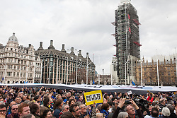 London, UK. 23rd March, 2019. A million people take part in a Put It To The People for a People's Vote rally in Parliament Square addressed by a selection of politicians and entertainers.