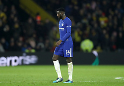 Chelsea's Tiemoue Bakayoko walks off after being shown a red card by match referee Mike Dean (not pictured) during the Premier League match at Vicarage Road, Watford.