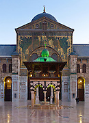 Ablution fountain in front of the main prayer hall decorated with mosaics said to depict paradise. Umayyad Mosque, Damascus, Syria