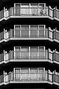 Abstract image of windows and balconies on a high-rise apartment building in Kashimada, Kawasaki, Kanagawa, Japan. Saturday December 14th 2019