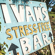 A sign for Ivan's Bar in White Bay on Jost Van Dyke in the British Virgin Islands.