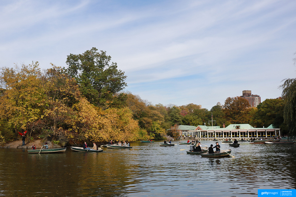 NEW YORK, NEW YORK - NOVEMBER 4: A fall scene showing rowers on the lake in Central Park, Manhattan, New York. 4th November 2017. (Photo by Tim Clayton/Corbis via Getty Images)
