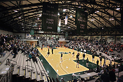 01 March 2014:  Pregame warm ups under the beautiful architectural geometric steel beams above the court during an NCAA mens division 3 CCIW  Championship basketball game between the Wheaton Thunder and the Illinois Wesleyan Titans in Shirk Center, Bloomington IL