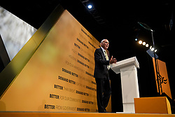 © Licensed to London News Pictures. 18/09/2018. Brighton, UK.  Liberal Democrat leader VINCE CABLE delivers his leaders speech on the final day of the Liberal Democrat Autumn Conference in Brighton, East Sussex on September 18, 2018. This years event has been mainly focused around Brexit, the UK's departure from the EU. Photo credit: Ben Cawthra/LNP