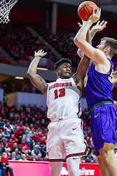 NORMAL, IL - December 31: Rey Idowu defends a shot offered by Austin Phyfe during a college basketball game between the ISU Redbirds and the University of Northern Iowa Panthers on December 31 2019 at Redbird Arena in Normal, IL. (Photo by Alan Look)