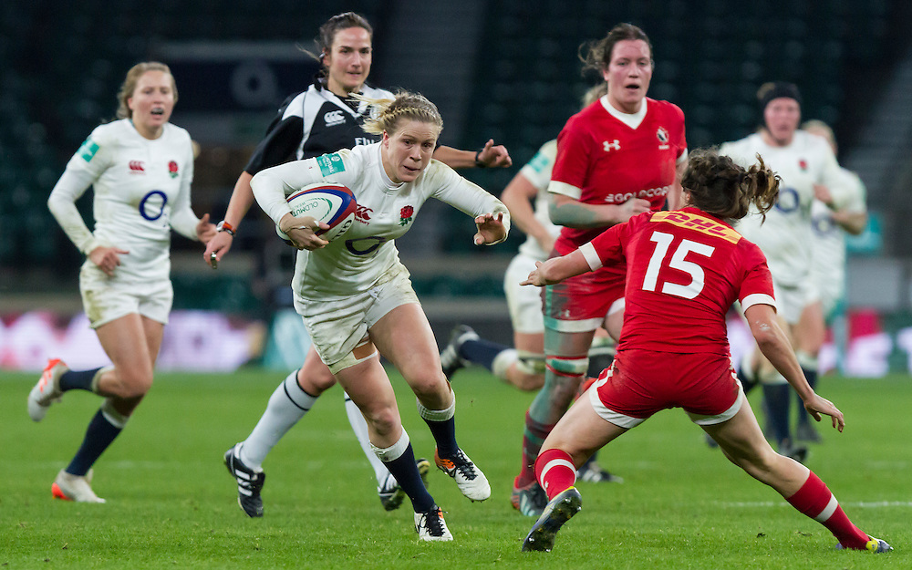 Danielle Waterman running in her outstanding individual try, England Women v Canada Women in an Old Mutual Wealth Series, Autumn International match at Twickenham Stadium, London, England, on 26th November 2016. Full time score 39-6