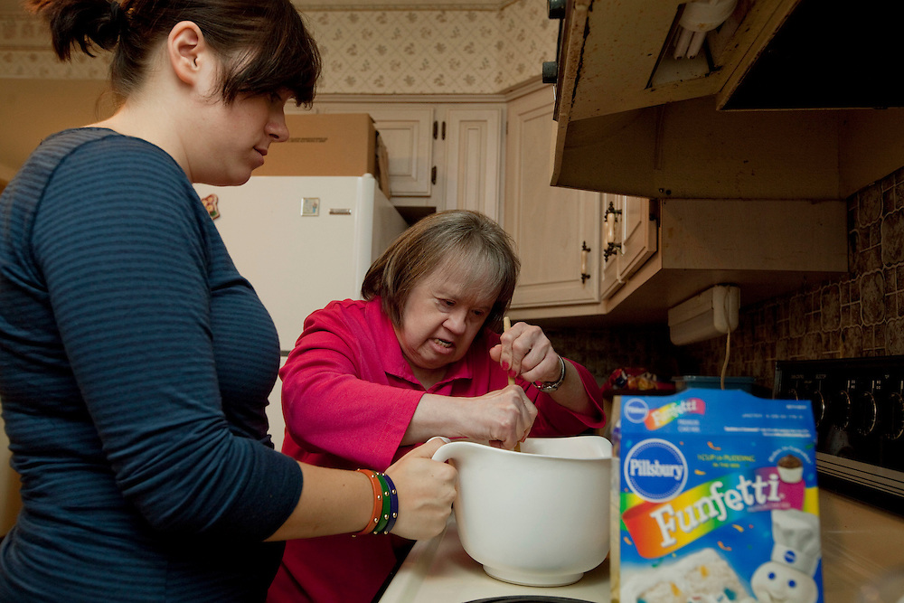 Mary Beth Solinski, a 59 year old, with Down Syndrome, bakes her own birthday cake with help from her niece Sarah Graziano, 22...Aging adults with Down Syndrome. In 1983, people with Down syndrome could expect to live to age 25. Today, their life expectancy is 60 years. We interview a 59-year-old patient who has outlived her parents and is now in AARP. She has trouble walking, but has lots of interests, such as cooking, arts and crafts and reading.