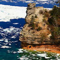 """""""Miner's Castle in Spring""""<br /> <br /> A Wonderful view of Lake Superior and Miner's Castle in late spring of 2014. Plenty of icebergs still remain!!<br /> <br /> The Great Lakes by Rachel Cohen"""