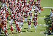 COLLEGE FOOTBALL:  The Stanford Cardinal runs onto the field before a game in October 1984 at Stanford Stadium in Palo Alto, California.  Visible players inlcude Greg Baty #84, Terry Jackson #67, Jeff James #3.  Photograph by David Madison ( www.davidmadison.com ).