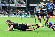 Chiefs Alex Nankivell scores during the Round 1 Trans-Tasman Super Rugby match between the Western Force and the Waikato Chiefs at HBF Park in Perth, Saturday, May 15, 2021. (AAP Image/Trevor Collens) NO ARCHIVING, EDITORIAL USE ONLY